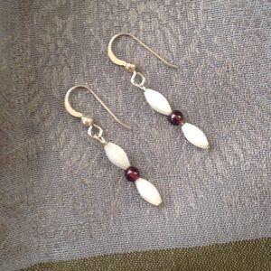 Jewelry - Sterling Silver Mother-of-pearl & Garnet Earrings